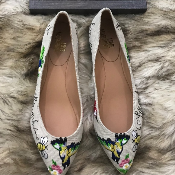 beauty free shipping half price Sold out LOVE MoschinonEmbroidered Ballerina Flat